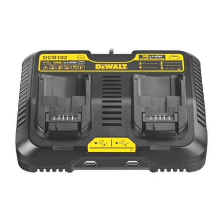 DeWALT DCB102 XR Multi Voltage Twin Port Charging Station w/ USB