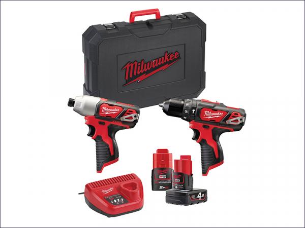 MILM12BPP2B4 M12 BPP2B Twin Pack Compact 12 Volt 1 x 4.0Ah &1 x 2.0Ah Li-Ion