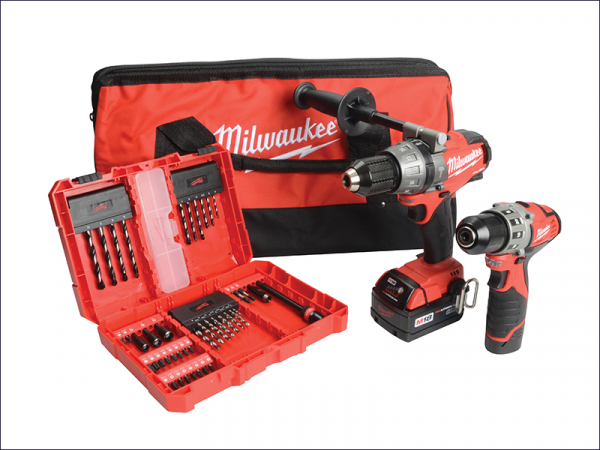 MILM18CPDC12 M18 2 Piece Kit 18 Volt Combi & 12 Volt Drill driver & 50 Piece Accessory Set