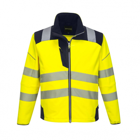 T402 - PW3 Hi-Vis Softshell Jacket Yellow/Dark Navy
