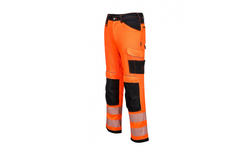PW340 - PW3 Hi-Vis Work Trousers Orange/Black