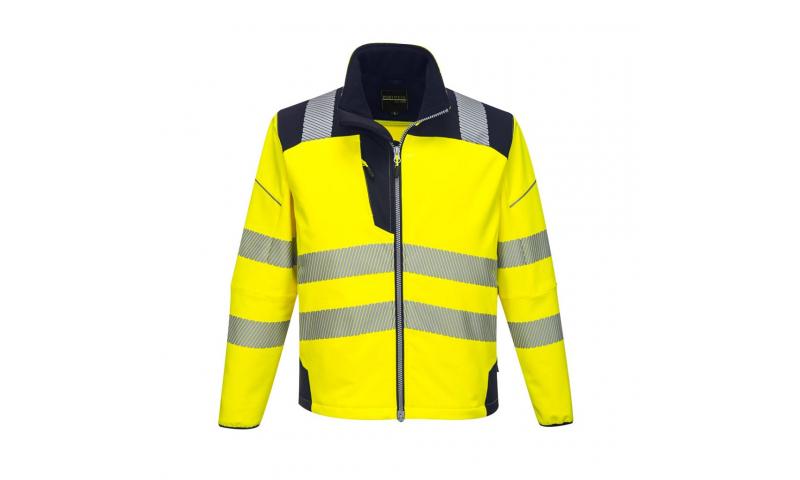 T402 - PW3 Hi-Vis Softshell Jacket Yellow/Dark Navy
