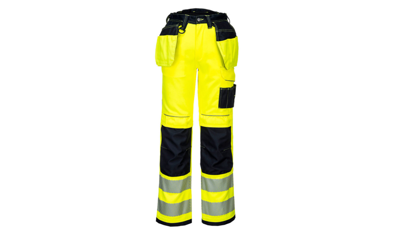 T501 - PW3 Hi-Vis Holster Work Trouser Yellow/Black